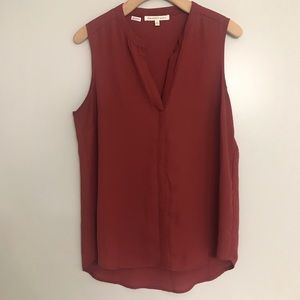Rusty Orange Sleeveless Blouse